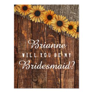 Rustic Wood & Burlap Will You Be My Bridesmaid Card