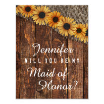 Rustic Wood & Burlap Will You Be My Maid of Honor Card