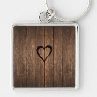 Rustic Wood Burned Heart Print Keychain