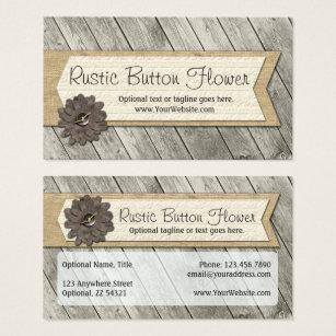 Fabric business cards templates zazzle rustic wood button fabric flower shabby burlap business card colourmoves Choice Image