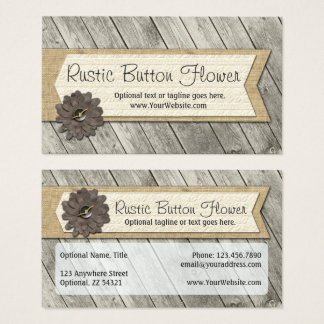 Rustic Wood Button Fabric Flower & Shabby Burlap Business Card