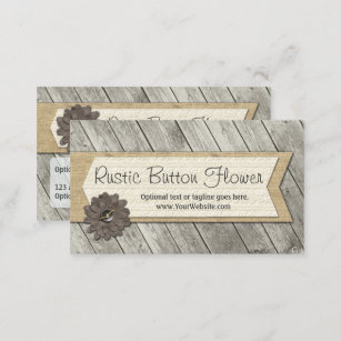 Wood business cards zazzle rustic wood button fabric flower shabby burlap business card reheart Image collections