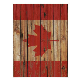 Rustic Wood Canada Flag Poster