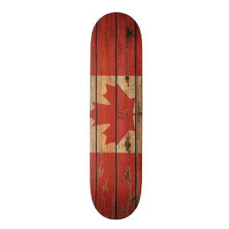 Rustic Wood Canada Flag Skateboard Deck