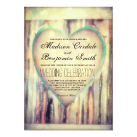 Rustic Wood Carved Heart Country Wedding Invites