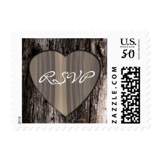 Rustic Wood Carved Heart RSVP Postage