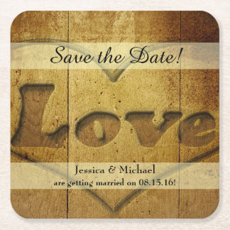 Rustic Wood Carved Love Save the Date Square Paper Coaster