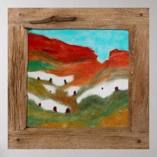 Rustic wood cave houses landscape poster print