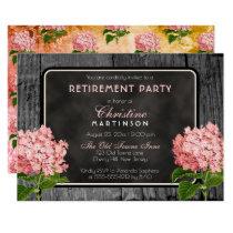 Rustic Wood Chalk Vintage Floral Retirement Party Card