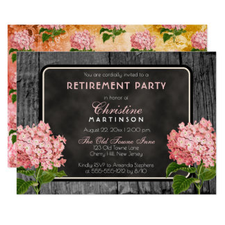 Rustic Wood Chalk Vintage Floral Retirement Party Card