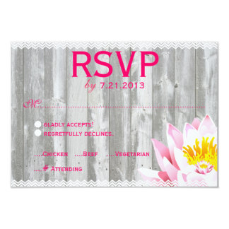 Rustic Wood & Chevron Lotus Flower RSVP Card