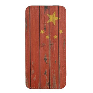 Rustic Wood China Flag iPhone 5 Pouch