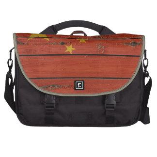 Rustic Wood China Flag Laptop Messenger Bag