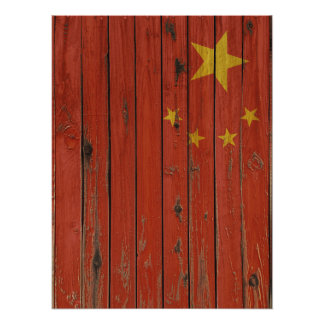 Rustic Wood China Flag Poster