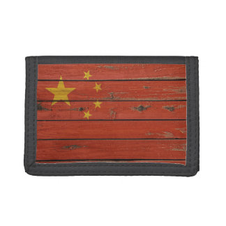 Rustic Wood China Flag Trifold Wallets