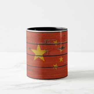 Rustic Wood China Flag Two-Tone Coffee Mug