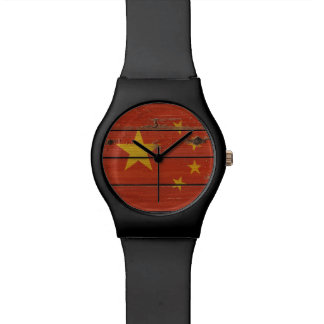 Rustic Wood China Flag Watch