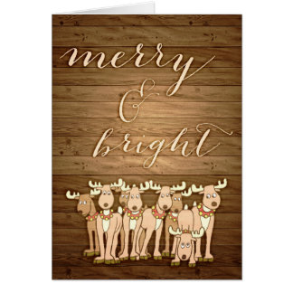 Rustic wood Christmas greeting card Merry & Bright