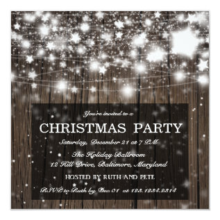 Rustic Wood Christmas Party Shining Stars Card at Zazzle