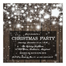 Rustic Wood Christmas Party Shining Stars Invitation