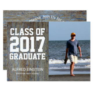 Rustic Wood Class of 2017 | Photo Graduation Party Card