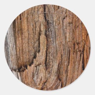 Rustic wood classic round sticker