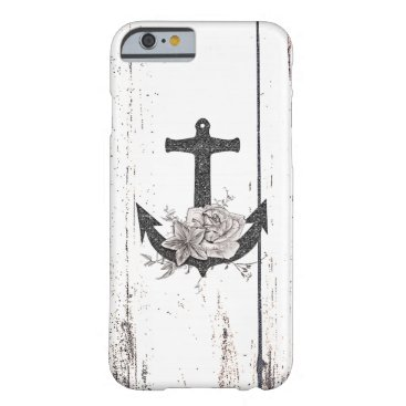 Rustic Wood Coastal Beach Anchor Vintage Floral Barely There iPhone 6 Case