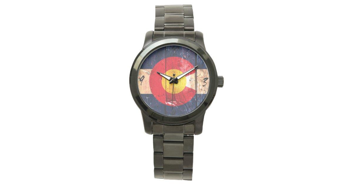 Rustic wood colorado art flag wrist watch zazzle for Minimal art wrist watch