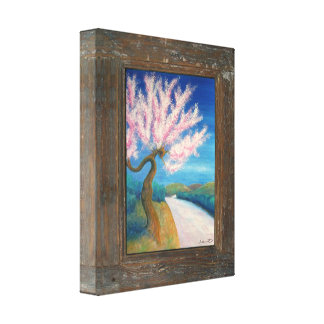 Rustic wood colourful blossom canvas print