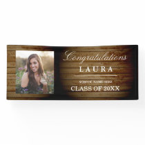 Rustic Wood Congrats Grad Graduation Photo Banner