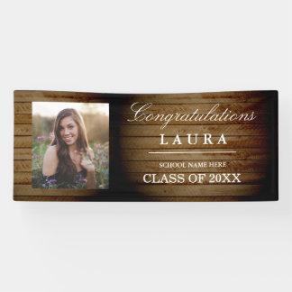 Rustic Wood Congrats Grad Graduation Photo Banner
