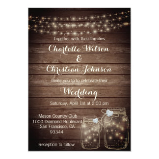 Rustic Wood Countr Mason Lights Wedding Invitation