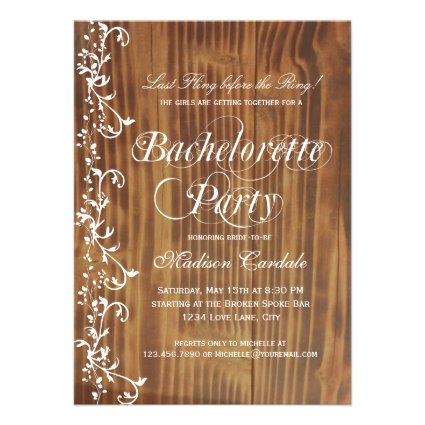 Rustic Wood Country Bachelorette Party Invitations