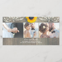 Rustic Wood Country Barn Sunflower Lace Thank You