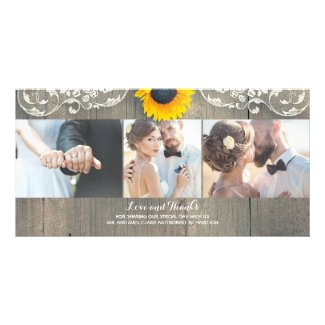 Rustic Country Sunflower Photo Thank You Cards