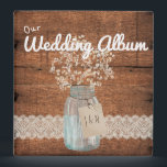 """Rustic Wood Country Barn Wedding Mason Jar Binder<br><div class=""""desc"""">This is a beautiful custom Rustic Wood Country Barn Wedding Mason Jar Baby&#39;s Breath design that&#39;s perfect for your rustic wedding. For further customization, please click the &quot;Customize it&quot; button and use our design tool to modify this template. All text style, colors, sizes can be modified to fit your needs....</div>"""