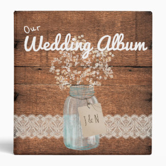 Rustic Wood Country Barn Wedding Mason Jar Binder