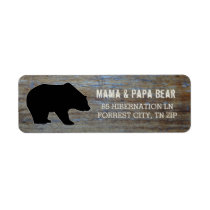Rustic Wood | Country Black Bear Silhouette Label