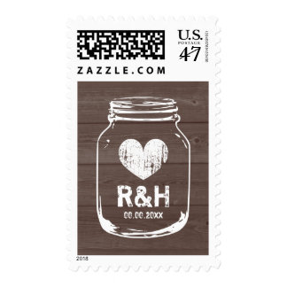 Rustic wood country chic mason jar wedding stamps