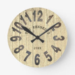 Rustic Wood Country Family Name Big Number Round Clock