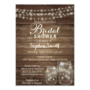 Mason jar bridal shower invitations zazzle rustic wood country mason jar bridal shower invitation filmwisefo