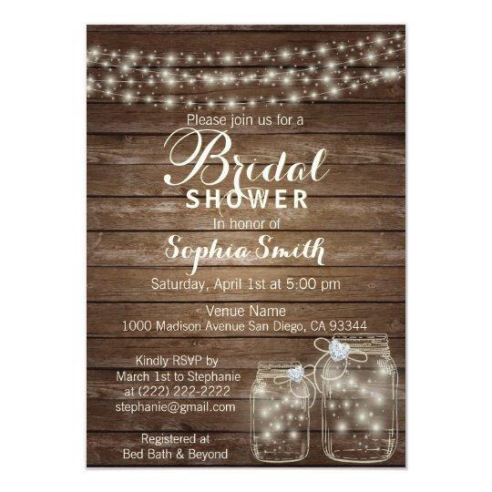country bridal shower invitations rustic wood mason jar christmas presents