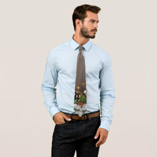 Rustic Wood Country Pines Lights & Snow Christmas Neck Tie