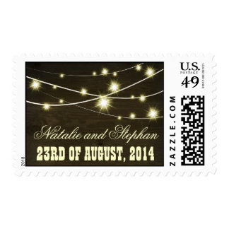 rustic wood country stamp with string lights