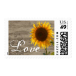 Rustic Wood Country Sunflower LOVE Wedding Stamp