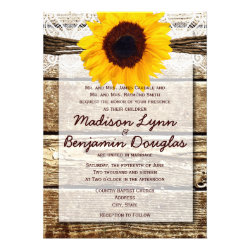 Rustic Wood Country Sunflower Wedding Invitations
