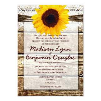 Rustic Wood Country Sunflower Wedding Invitations Personalized Invitations
