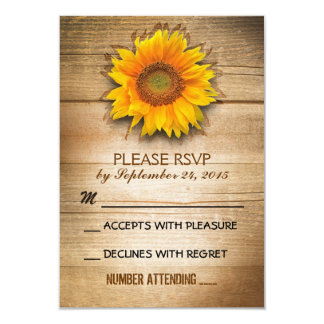 rustic wood country sunflower wedding RSVP 3.5x5 Paper Invitation Card