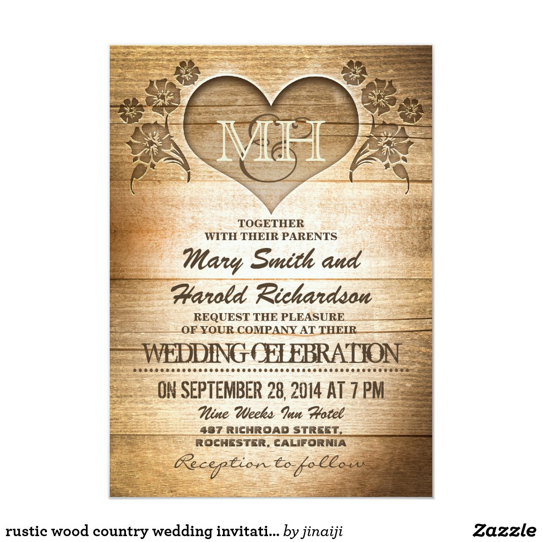 Rustic Wood Wedding Invitation with Carver Heart