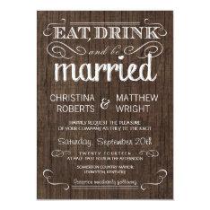 "Rustic Wood Country Wedding Invitations 4.5"" X 6.25"" Invitation Card at Zazzle"